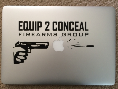 "Apple Laptop Gun Decal 10.5"" X 5.2"""